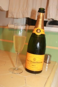 Champagne in my glass & chillled bottle in my kitchen